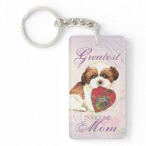 Shih Tzu Heart Mom Keychain