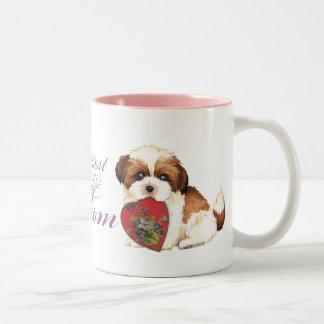 Shih Tzu Heart Mom Two-Tone Coffee Mug