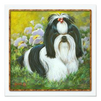 """Shih Tzu in the Garden Invitation Card 5.25"""" Square Invitation Card"""