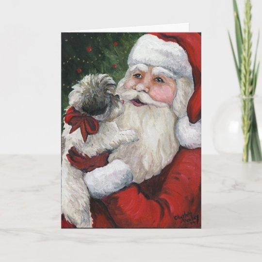 """Shih tzu Kisses for Santa"" Dog Art Christmas Card ..."