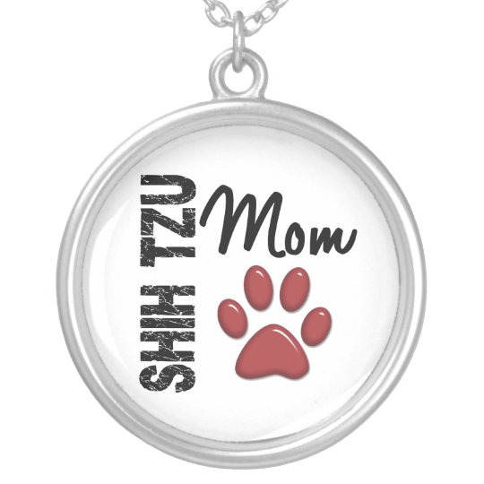 Shih Tzu Mom 2 Silver Plated Necklace