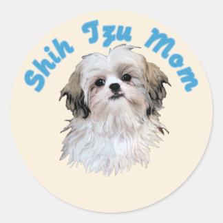Shih Tzu Mom Classic Round Sticker