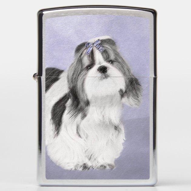 Shih Tzu Painting Cute Original Dog Art Zippo Lighter Zazzle Com