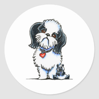 Shih Tzu Panda Classic Round Sticker