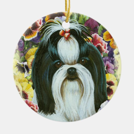 Shih Tzu & Pansies Ornament