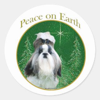 Shih Tzu Peace Round Stickers