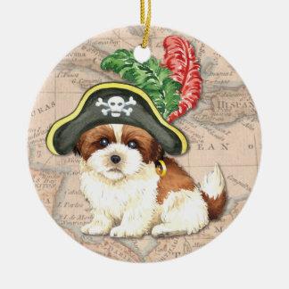 Shih Tzu Pirate Ceramic Ornament