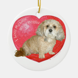 Shih Tzu / Poodle Mix Valentines Day Double-Sided Ceramic Round Christmas Ornament