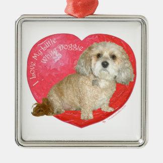 Shih Tzu / Poodle Mix Valentines Day Square Metal Christmas Ornament
