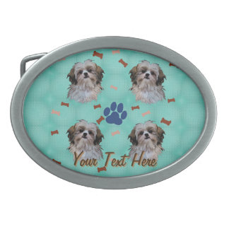 Shih Tzu Portrait Oval Belt Buckle