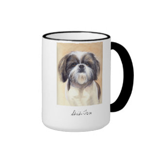 Shih Tzu Portrait Painted in Watercolour Ringer Coffee Mug