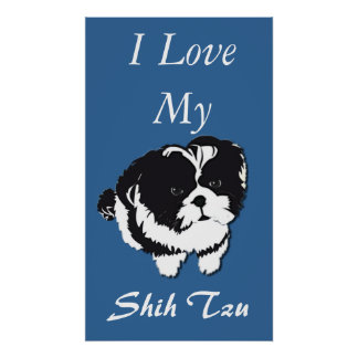 Shih Tzu Poster Abstract I Love My