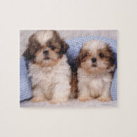 Shih Tzu puppies under a checked blanket Jigsaw Puzzles