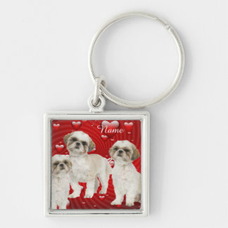 Shih Tzu Puppies with Hearts Personalized Keychain