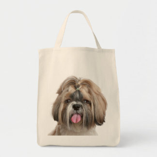 Shih Tzu Puppy Beach Grocery Canvas Tote Bag