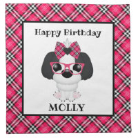 Shih Tzu Puppy Dogs Pink Birthday Party Napkins