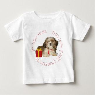 Shih Tzu Puppy First Christmas Baby T-Shirt