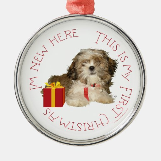 Shih tzu puppy first christmas ornament zazzle