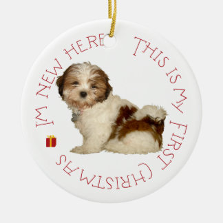 Shih Tzu Puppy First Christmas Christmas Ornament