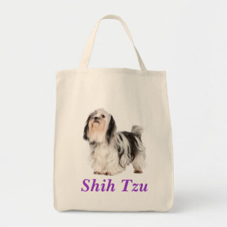 Shih Tzu Puppy Grocery Canvas Tote Bag