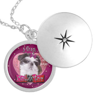 Shih Tzu Puppy Hugs, Silver Plated Round Locket