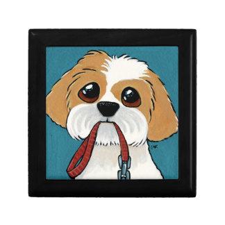 Shih Tzu Puppy on Blue Dog Illustration Keepsake Box