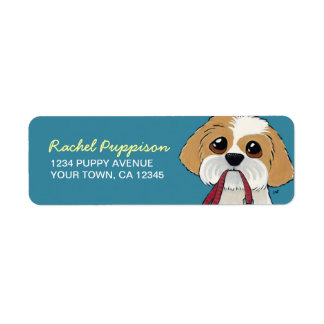 Shih Tzu Puppy on Blue | Dog Return Address Label
