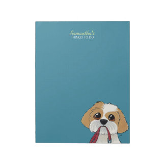 Shih Tzu Puppy on Blue To Do List Notepad