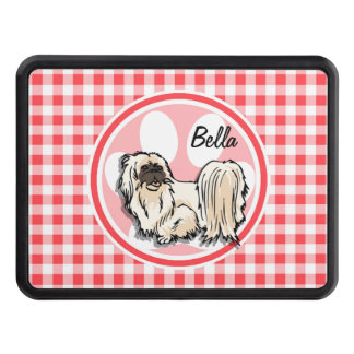 Shih Tzu; Red and White Gingham Tow Hitch Covers