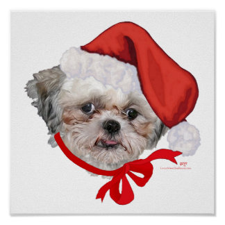 Shih Tzu Rescue Dog Happy Holidays Posters