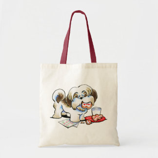 Shih Tzu Santa Cookie Thief Budget Tote Bag