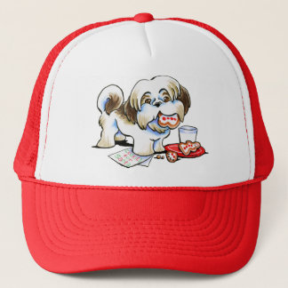 Shih Tzu Santa Cookie Thief Trucker Hat
