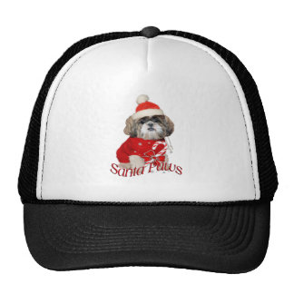 Shih Tzu Santa Paws apparel Trucker Hats