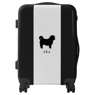 Shih Tzu Silhouette with Custom Text Luggage