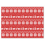 Shih Tzu Silhouettes Christmas Pattern Red Tissue Paper