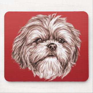 Shih Tzu Sketch Mouse Pad