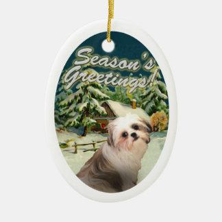 Shih Tzu Snow Cabin Christmas Ornament