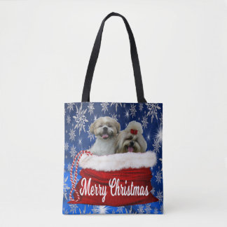 Shih tzu Tote Bag Christmas