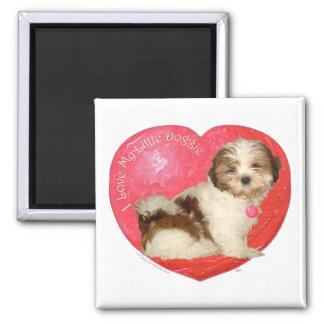 Shih Tzu Valentine's Day 2 Inch Square Magnet