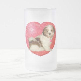 Shih Tzu Valentine's Day Frosted Glass Beer Mug