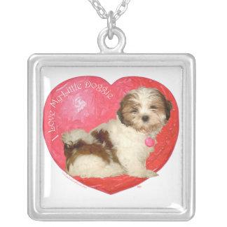 Shih Tzu Valentine's Day Square Pendant Necklace