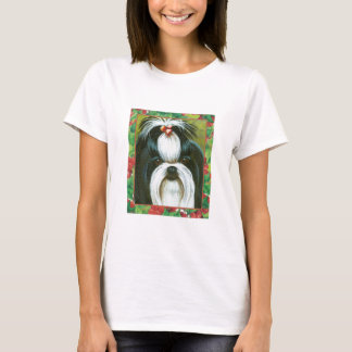 Shih Tzu with Holly for Christmas t shirt