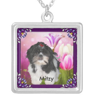 Shih tzu with Purple Frame & Flowers Named Square Pendant Necklace