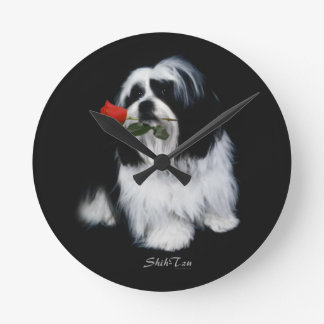 Shih Tzu With Rose Round Wall Clock