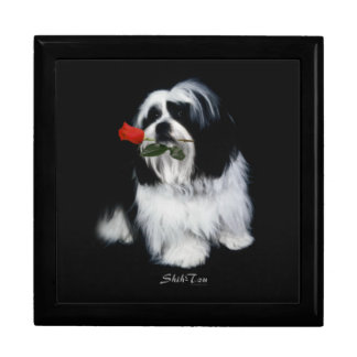 Shih Tzu With Rose Jewelry Boxes