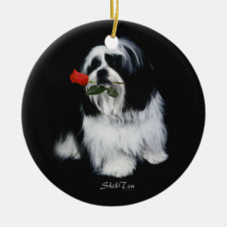 Shih Tzu With Rose Christmas Tree Ornaments
