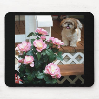 Shih Tzu with Spring Flowers Mouse Pad