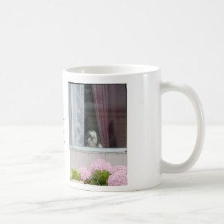 Shih Tzu y taza de las floraciones del Hydrangea
