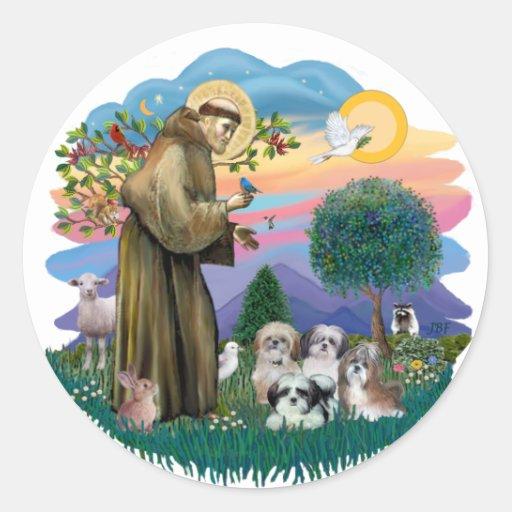 Shih Tzus (four) Classic Round Sticker