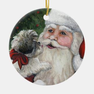 Shihtzu y ornamento del navidad del arte del perro ornamentos de reyes